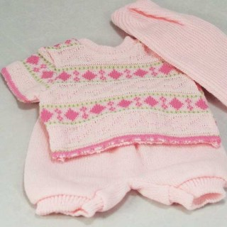 Pink Wool Top, Pants and Hat
