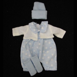 Blue Pokadot Outfit with White Jacket hat and Socks
