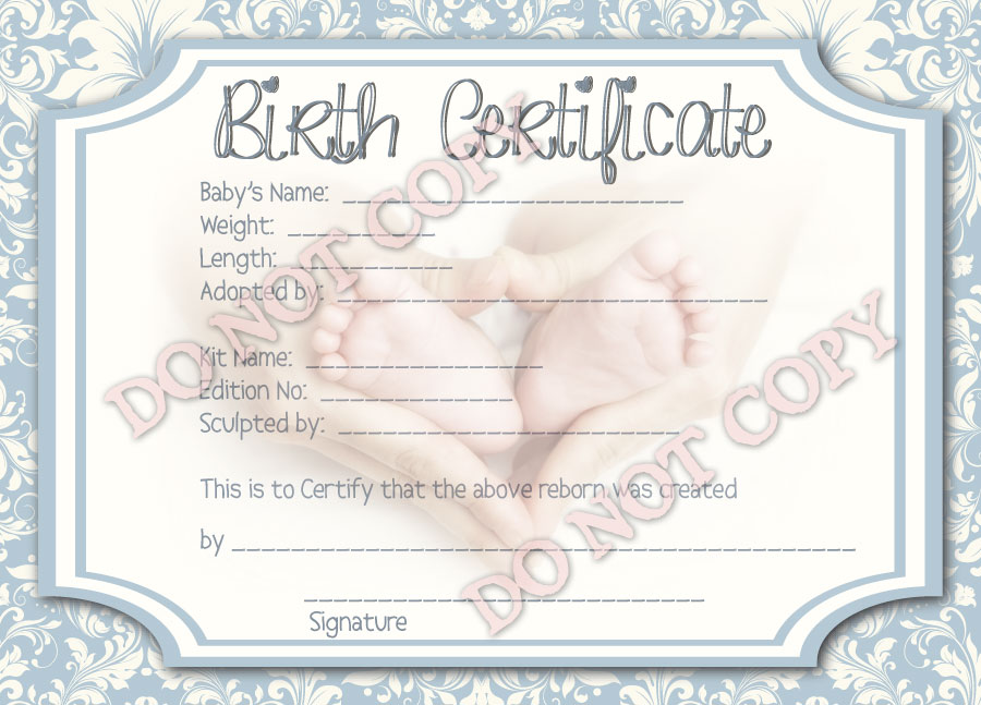 Reborn Doll Birth Certificate ~ Boy ~ Damask with Newborn Feet
