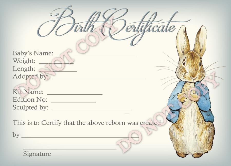 Noimage Reborn Doll Birth Certificate ~ Boy ~ Beatrix Potter