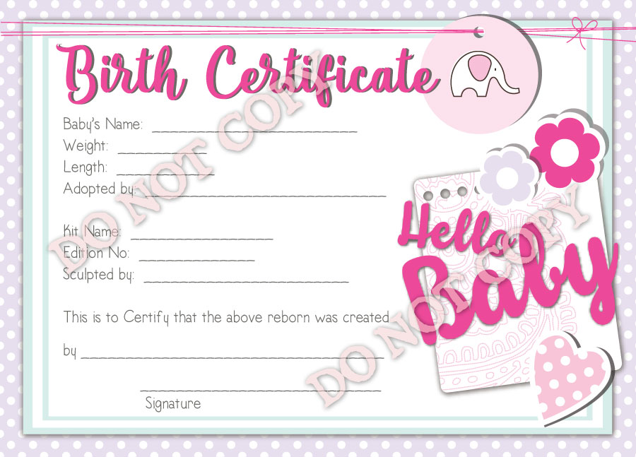 Reborn Doll Birth Certificate Girl Hello Baby Reborn Birth