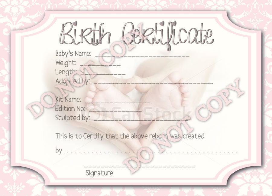 Reborn Baby Girl Birth Certificate Printed on Quality Paper