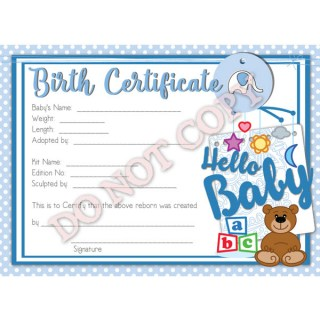 Reborn doll birth certificates reborn doll birth certificate boy hello baby yadclub Image collections